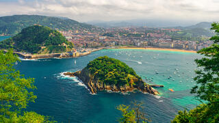 Aerial view of turquoise bay of San Sebastian or Donostia with beach La Concha, Basque country, Spain